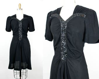 Vintage 1930s dress . Flirting with Danger . 30s / 1940s black rayon dress with sequins . md / medium