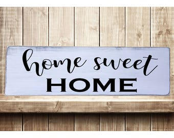 """Home Sweet Home Better Rustic Farmhouse Style Handmade Real Wooden Sign Wall Art Distressed Plaque Home Decor  7.25""""x 24"""""""