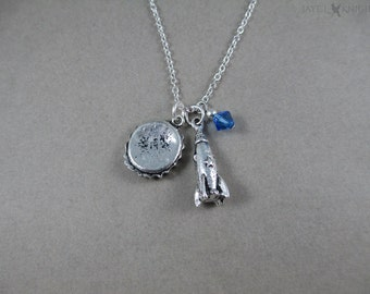 Fallout Bottle Cap and Rocket Charm Necklace - Silver Charms