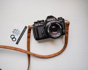Tracolla in vero CUIO per fotocamere Mirrorless o Reflex SPEDIZIONE GRATIS - Camera Strap marrone pelle leather vintage cinghia minimal