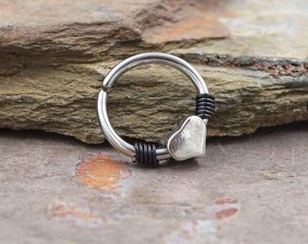 Heart Silver Daith Ring Daith Piercing Rook Earring Hoop