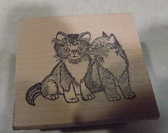 """Two Little Kittens Rubber Stamp 2"""" x 1-3/4"""""""