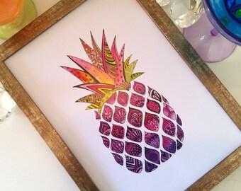 Zentangle Technicolour Abstract Pineapple Watercolour Print, modern art, pink and purple, pop art, funky fruit, summer party, girls decor
