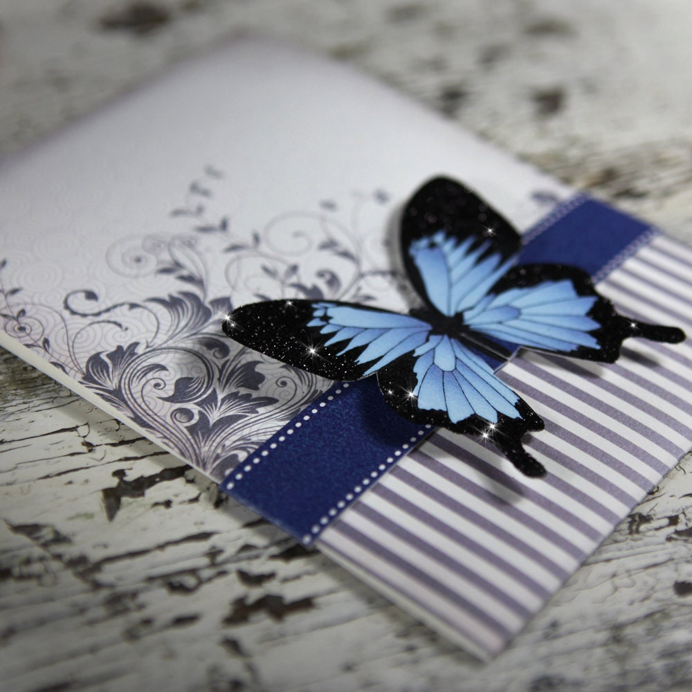 Blue Mountain Butterfly Wedding Invitation Suite SAMPLE