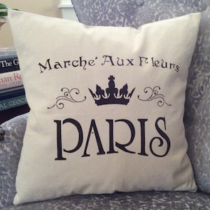 "Country French Saying Pillow, French ""Flower Market""Throw, Canvas Pillow, Pillow with Paris Word, French Graphic Decor, Accent Pillow, Paris"