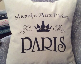 """Country French Saying Pillow, French """"Flower Market""""Throw, Canvas Pillow, Pillow with Paris Word, French Graphic Decor, Accent Pillow, Paris"""