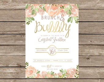 Brunch and Bubbly Bridal Shower Floral Invitation