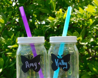 Set of 2 Summer Mason Jar Tumblers with Chalkboard Butterfly Label and Reusable Straws