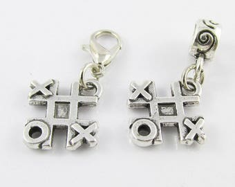 Tic Tac Toe Game Charm Select European Charm or Clip on