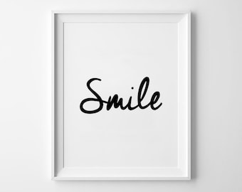 Smile Poster, Motivational, wall art prints, quote, minimalist, black and white, home decor, wall, scandinavian, inspirational