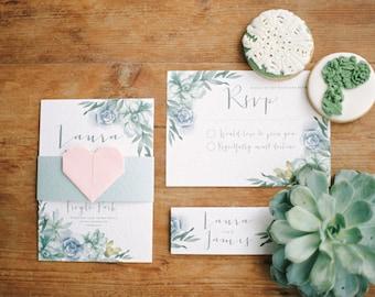 Watercolour Succulent Wedding Invite and RSVP