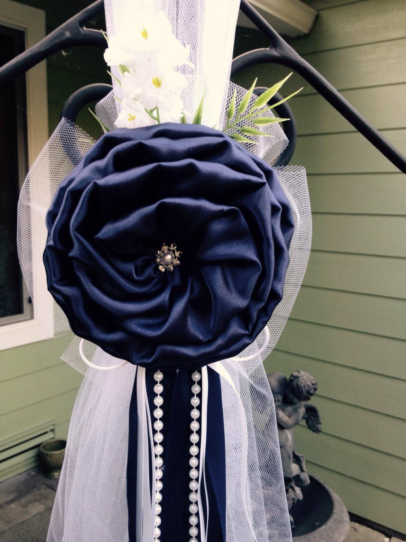 Navy blue pew bows chair bows white wedding church aisle zoom junglespirit Choice Image