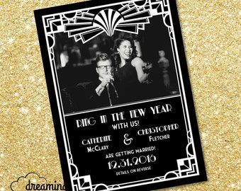 Roaring 20s / Gatsby Themed Save the Date - with photo!