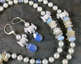 White Pearls and Sea Opals OOAK Scottie Necklace and Earrings Set - 278ss