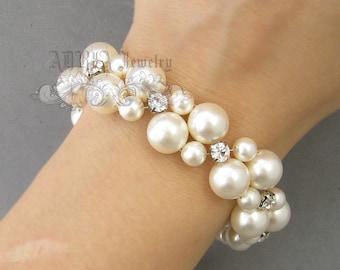 Pearl Wedding Bracelet, Ivory White Pearls Rhinestone Beaded Bridal Bracelet Jewelry, Multi Strands Silver Bride Bridesmaid cuff Bracelet