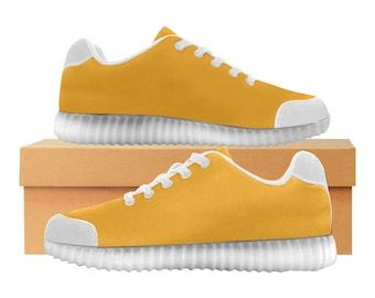 Miel | LED Light Up chaussures | Hommes & femmes tailles | Tige extensible haute | Semelle intérieure en tissu | Recharger | Choisissez noir ou blanc garniture