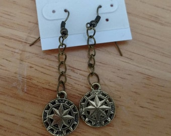 Brass compass rose earrings