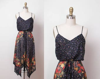 1970s Floral Print Sundress / 70s Handkerchief Hem Dress