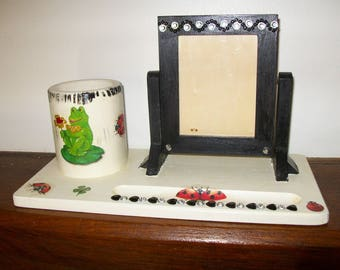 "Frame, deco pencil holder ""frogs"""