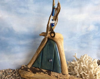 Denim Blue Beachcomber Fairy Door with Fairy Wish Catcher