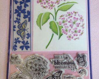 The Hydrangea Set- Stencil, Embossing Folder & Stamps
