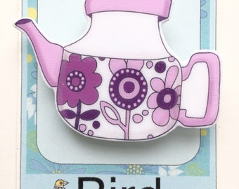 Purple Retro Teapot Pin Brooch