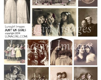 Just Us Girls VINTAGE PHOTOS digital collage sheet Victorian children ladies sisters friends, printable ephemera altered art images DOWNLOAD