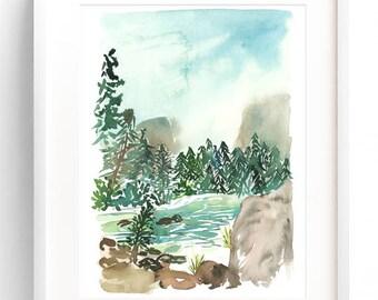 Lakeview Watercolor Landscape - Watercolor Archival Print, Watercolor Lake, Watercolor Home Decor