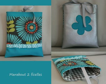"""Turquoise flower"" faux leather and cotton pouch"