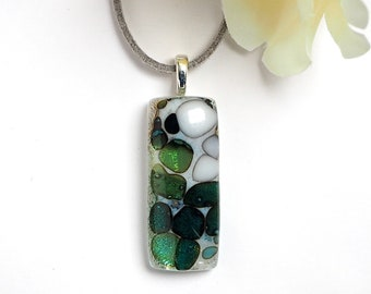 Glass Pendant Necklace - Stone Effect Glass Jewellery - Organic Green White Fused Glass - Handmade Necklace - EP 714