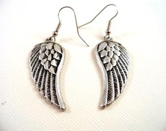 Angel Wing Earrings, Dangle Earrings, Angel Wing