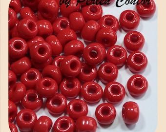 32 g glass beads 8.8 mm heart-red opaque preciosa seed beads (AZ1004)