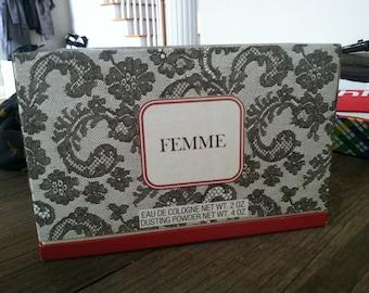 ROCHAS Femme Vintage Gift Set, Eau de Cologne 2oz, Dusting Powder 4oz, NEVER USED