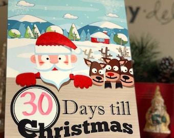 Christmas Countdown/Days Until (weeks until) Christmas/Christmas decoration/Dry Erase/Santa Countdown/Kids Christmas/Gift for Kids/Holiday