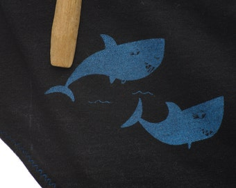 Shark Week Period Panties Boy-Cut Underwear - Recycled Cotton - Size 0 - Ready to Ship