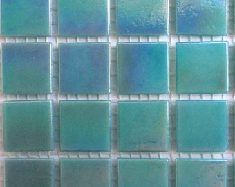 "20mm (3/4"") Mint Teal Green Iridescent Vitreous Glass Mosaic Tiles//Seafoam//Mosaic Supplies//Mosaic Pieces//Craft Supplies"