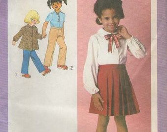 1970s Simplicity 9204 UNCUT Vintage Sewing Pattern Girls Blouse, Top, Skirt, Pants Size 4