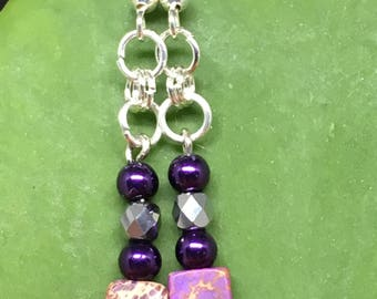 Purple Jasper Square Bead Earrings