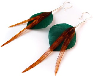 Crisp Leaf Shaped Feather Earrings in Teal with Long Burnt Orange Ginger Accent Plumes