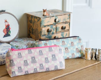 Zip pouch, small make-up or cosmetics bag in a cute kawaii Kokka bear themed linen and cotton fabric, lined with linen and cotton blend