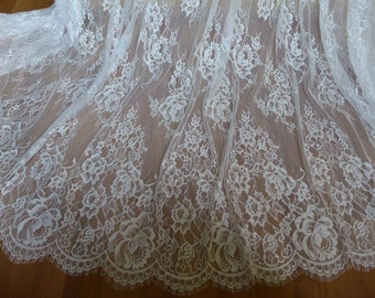 Vintage French Chantilly Lace Fabric Graceful Floral Wedding Fabric Soft Bridal Lace Fabric By The Yard
