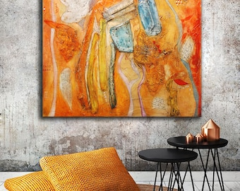 Large original Abstract Textured Painting, orange red blue art, Heavy Textured Modern square Original Painting, whimsical painting