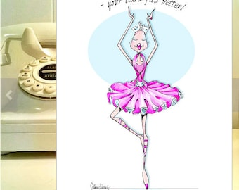 Fight Cancer Cards, Breast Cancer card, Uplifting Cancer Card, Chemo Cancer card, Get Well Cancer card, funny friendship, Tiara Ballerina