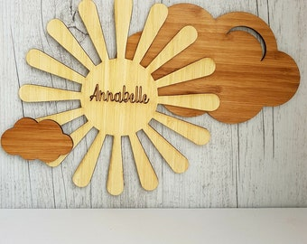 Personalised Wooden Sun and Clouds Name Plaque Sign