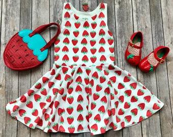 Strawberry Dress. Fruit Dress. Summer Dress. Baby Dress. Toddler Dress. Little Girl Dress. Twirl Dress. Twirly Dress. Play Dress.