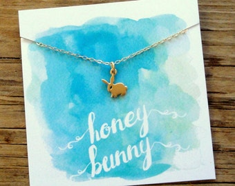 Bunny Necklace. Honey Bunny. 24K Gold Plated Sterling Silver Bunny Charm Necklace. Valentine's Day Gift. Gold Rabbit Necklace.