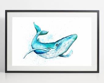 Baleine bleue aquarelle peinture imprimer – art de la baleine bleue, animal aquarelle, illustration de baleine bleue, illustration d'animaux, baleine bleue affiche