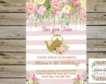 TEA FOR TWO Birthday Invitation, Tea Party Birthday Invitation, Tea Party Invitation, Customized Digital Printable, Tea Party Birthday Card