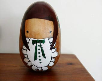 Wooden Folk Art Egg Doll Kokeshi ... Woodland Girl