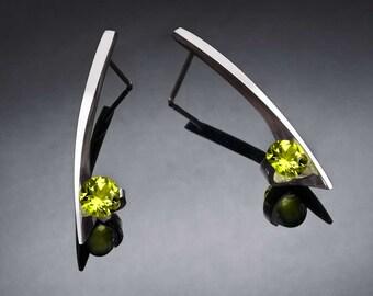 peridot earrings, dangle earrings, birthstone earrings, August birthstone, gemstone jewelry, modern earrings, eco-friendly, for her - 2458